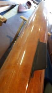 Bateau d'aviron 8+ pointe empacher bois