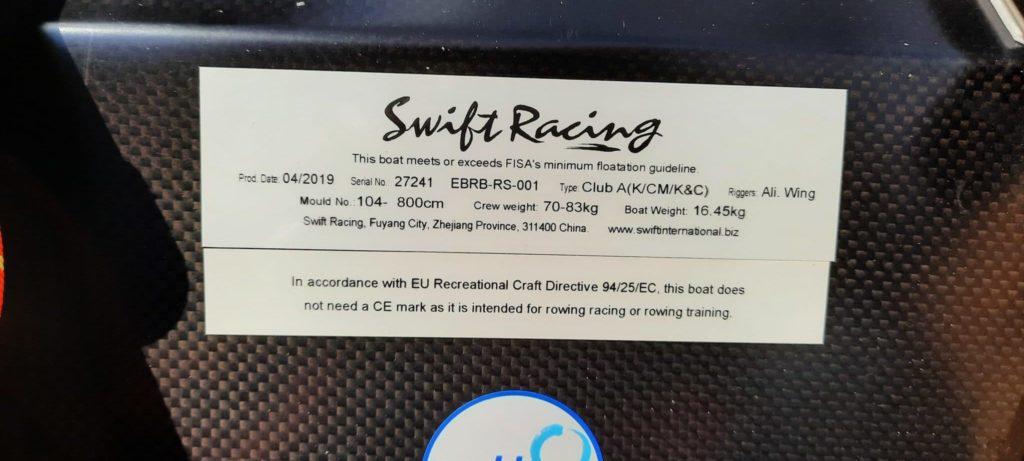 Skiff 1x Swift racing club A 70-83kg aile alu